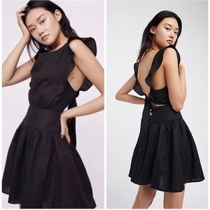 Free People Erin Ruffle Cut out Back Mini Dress